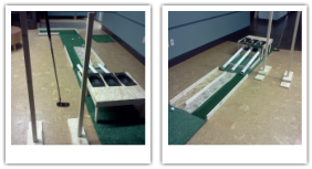 Photos of the Mini Golf Lab Setup, Including the Base Hole, Potential Energy, and Friction Kits.